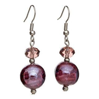 "Lova Jewelry ""Globes of Lavender"" Hand Blown Venetian Murano Glass Drop Earrings Dangle Earrings Jewelry"