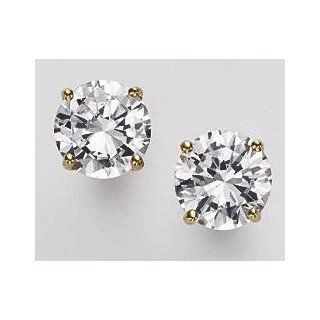 "14k Yellow Gold 12mm (0.47"") CZ Stud Earrings Round Brilliant Cut 12.00 Carat Total Weight Extra Large Heavy Duty Backs Jewelry"