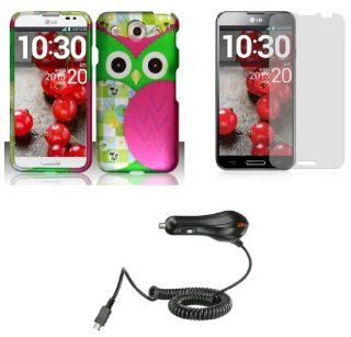 LG Optimus G Pro E980 (AT&T)   Accessory Combo Kit   Hot Pink and Green Owl Design Shield Case + Atom LED Keychain Light + Screen Protector + Micro USB Car Charger Cell Phones & Accessories