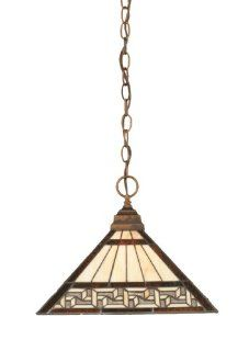 Toltec Lighting 12 BRZ 982 One Light Chain Pendant Bronze with Greek Key Tiffany Glass, 14 Inch   Ceiling Pendant Fixtures
