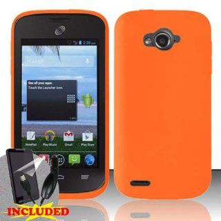 ZTE Awe N800 (StraightTalk/Virgin Mobile) One Piece Silicon Soft Skin Case Cover, Orange + SCREEN PROTECTOR & CAR CHARGER Cell Phones & Accessories
