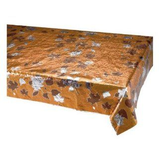 Creative Converting Thanksgiving Fall Leaves Metallic Banquet Table Cover, Copper with Chocolate and Silver Toys & Games