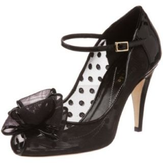 Kate Spade New York Women's Didi Open Toe Pump, Black Mesh/Black Patent, 8 M US Pumps Shoes Shoes