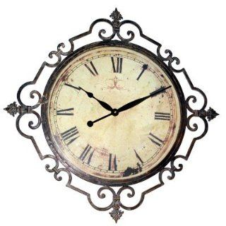 Regal Scroll Roman Numeral Large Iron Wall Clock Anitiqued