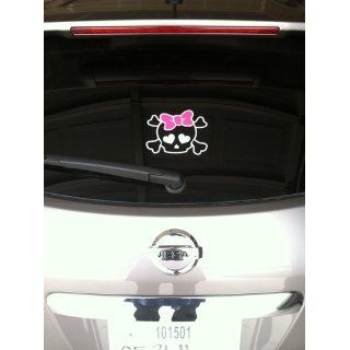 Skull with PINK Bow Car Decal / Sticker Automotive