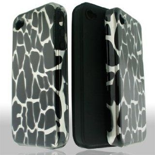 Apple iPhone 4G 4 G / 4S 4 S White Giraffe Animal Spots Design Hybrid 2 in 1 Combo Snap On Hard Protective Cover and Black Silicone Skin Case Gel Cell Phone Cell Phones & Accessories