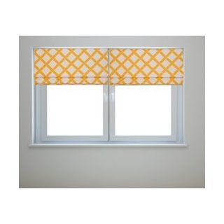 Key West White and Yellow Bamboo Fabric Roman Shade with Black Out Lining 30 Wide x up to 72 Long   Window Treatment Horizontal Blinds