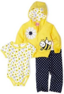 Carters Baby girls Newborn bumble Bee Set With French Terry Jacket, Pant and Interlock Coverall, Yellow, 6 9 Months Clothing