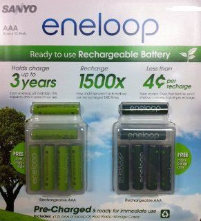 Sanyo 12 Pack AAA eneloop 2nd generation 1500 cycle Rechargeable Batteries with 2 Plastic Storage Cases Electronics