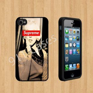 marilyn monroe supreme gold Custom Case/Cover FOR Apple iPhone 4 /4S BLACK Rubber Case ( Ship From CA ) Cell Phones & Accessories