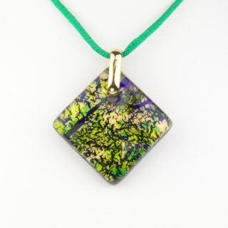 Murano Glass Pendant Jewelry   Square L Green/Gold Style1 Pendant Necklaces Jewelry
