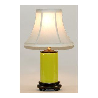 Small Traditional Avocado Green Porcelain Accent Table Lamp