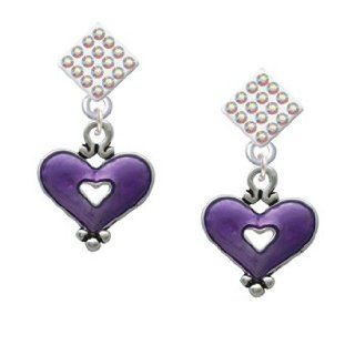 Hot Purple Enamel Heart with Cutout AB Crystal Diamond Shaped Lulu Post Earrings Dangle Earrings Jewelry