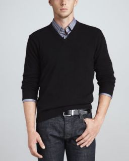 V Neck Cashmere Pullover Sweater, Black