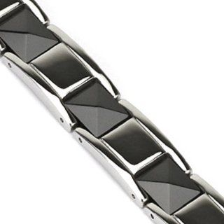 Spikes 316L Stainless Steel Black Pyramid Cut Ceramic Links Bracelet Jewelry