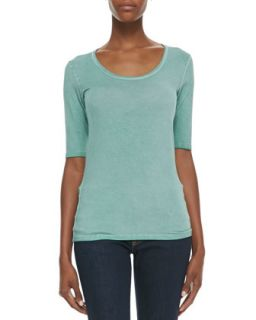 Womens Soft Touch Elbow Sleeve Scoop Neck Tee, Vert (Green)   Majestic Paris