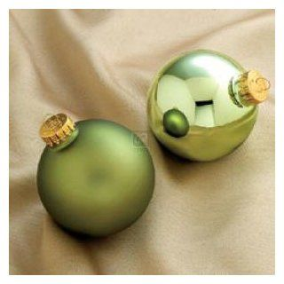 Two Tone Sage Green Glass Ball Ornament Set Of 6   Decorative Hanging Ornaments