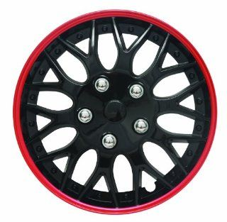 "14"" Black and Red Lacquer/Plastic Wheel Cover Hubcaps, Pack of 4  7043 Automotive"