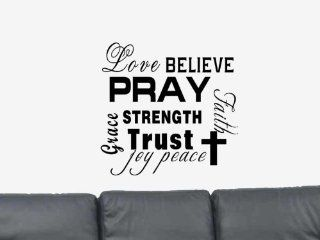 Love Believe Pray Strength Trust Faith Vinyl Wall Art Decal Sticker Home Decor   Positive Wall Decal