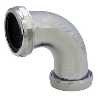 LASCO 03 3853 1 1/2 Inch Chrome Plated Brass Slip Joint Both Ends 90 Degree Elbow with Nuts and Washers   Pipe Fittings
