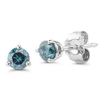 10k White Gold Martini Set Blue Diamond Stud Earrings (1/4 cttw) Jewelry
