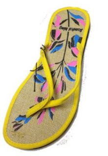 Womens Burlap Hessian Flower Sandals Flats Flip Flops by Sandal King (5140)  5 different colors Shoes