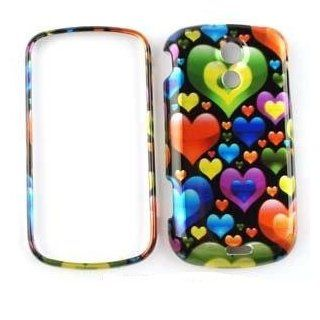 SAMSUNG EPIC 4G Transparent Design Colorful Hearts in Different Sizes HARD PROTECTOR COVER CASE / SNAP ON PERFECT FIT CASE Cell Phones & Accessories