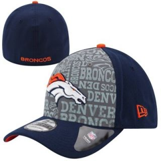 Mens New Era Navy Blue Denver Broncos 2014 NFL Draft 39THIRTY Reverse Flex Hat