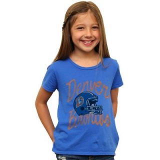 Junk Food Denver Broncos Youth Girls Game Day Glitter Premium T Shirt   Royal Blue
