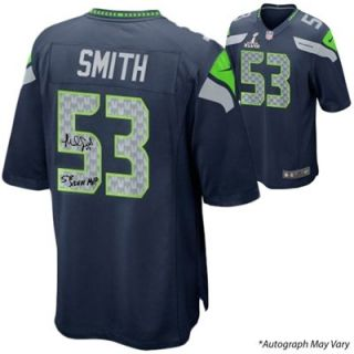 Malcolm Smith Seattle Seahawks Super Bowl XLVIII Champions Autographed Super Bowl Nike Replica Blue Jersey with SB XLVIII MVP Inscription