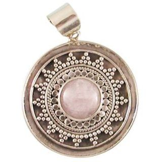 Traditional Indoneasian Hand hammered .925 Silver Medallion Pendant with Rose Quartz Accent Jewelry