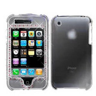 Hard Plastic Snap on Cover Fits Apple iPhone 3G 3GS Transparent Clear With With/Pink Diamond AT&T (does NOT fit Apple iPhone or iPhone 4/4S or iPhone 5/5S/5C) Cell Phones & Accessories