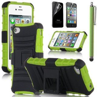 Hard Plastic Snap on Cover Fits Apple iPhone 4 4S Green/Black Advanced Armor Stand (Outside Hard Plastic Green Cover, Inside Black Soft Silicone Skin) +Green Pen/Stylus+Front and Back LCD Screen Protective Films+Cleaning Cloth+Application Card AT&T, Ve