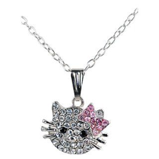 Silver Tone and Rhinestone Pendant Necklace for Little Girls Pendant Necklaces Jewelry