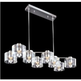 Sonneman 4808.01 Eight Light Transparent Rectangular Chandelier From the Transparence Collection, Polished Chrome   Ceiling Pendant Fixtures