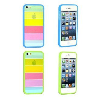 BlueMart � Rainbow Series 2Pcs Hard Skin Case Cover for Apple iPhone 5 Plus BlueMart Cable Tie (Aqua Blue & Green) Cell Phones & Accessories