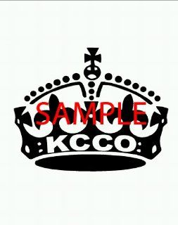 White   KCCO   Large Crown   Keep Calm and Chive On Decal Laptops, Windows, Motorcycles, Cars, Truck, Etc