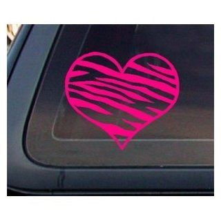 "Zebra Print Heart 5.5"" HOT PINK Car Decal / Window Sticker   NOTEBOOK, LAPTOP, WINDOW, WALL, CAR, TRUCK, MOTORCYCLE, ETC. Automotive"