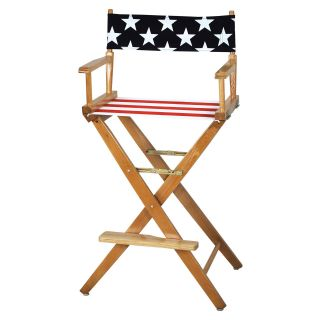 American Flag Extra Wide 30 inch American Oak Bar Height Directors Chair   Tall Directors Chairs