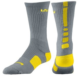 Nike LeBron Elite Basketball Crew   Mens   Basketball   Accessories   Cool Grey/Tour Yellow