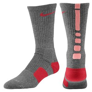 Nike Elite Basketball Crew Socks   Mens   Basketball   Accessories   Charcoal Heather/Atomic Pink/Noble Red