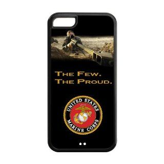 Personalized US Marine Corps Army The Few.The Proud With Shooter Iphone 5C Plastic And TPU Silicone Back Wearproof And Sleek Case Cover Cell Phones & Accessories