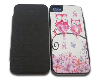 iphone 4 4S Owls Butterflies Fashion Trend Designer Full Case / Flip cover Defender Shockproof Holder Pouch Case Cover iPhone Wallet Cell Phones & Accessories