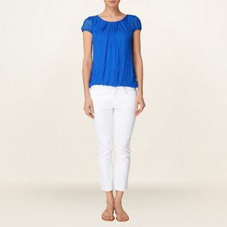 Phase Eight Cobalt nina silk chiffon cap sleeve blouse
