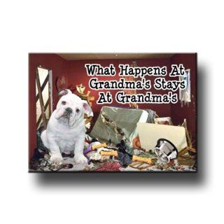 English Bulldog What Happens At Grandma's Fridge Magnet # 3  Refrigerator Magnets