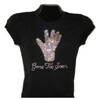 Michael Jackson Glove, Gone Too Soon 100% Swarovski Crystal Women's T Shirt (Large, Black)