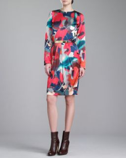 Womens Bloom Print Jewel Neck Dress, Grenadine   St. John Collection