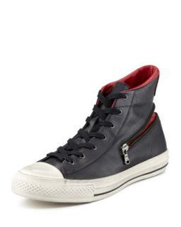 Mens All Star Zipper Hi Top, Black/Red   Converse by John Varvatos   Black (7.