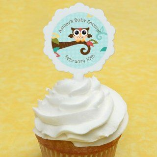 Owl   Look Whooo's Having A Baby   12 Cupcake Picks & 24 Personalized Stickers   Baby Shower Cupcake Toppers Toys & Games
