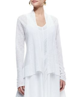 Organic Slub Knit Cardigan, White, Womens   Eileen Fisher   White (1X (14/16))